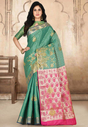 Kanchipuram Hand Embroidered Saree in Teal Green
