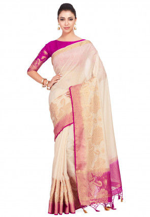 Kanchipuram Linen Saree in Light Beige