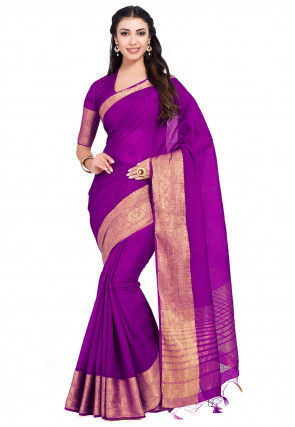 Kanchipuram Linen Saree in Magenta