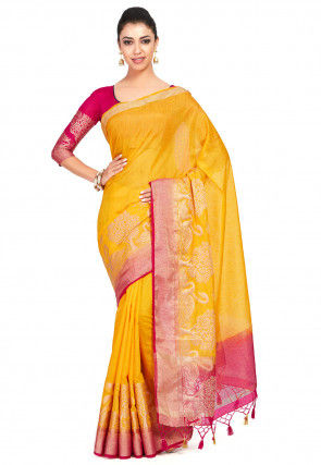 Kanchipuram Linen Saree in Mustard