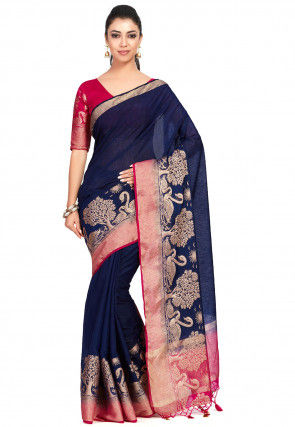 Kanchipuram Linen Saree in Navy Blue