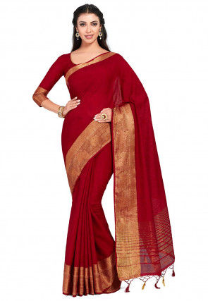 Kanchipuram Linen Saree in Red
