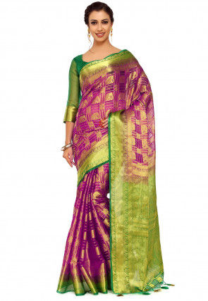 Kanchipuram Organza Saree in Purple