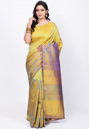 Kanchipuram Pure Kanchipuram Silk Handloom Saree in Yellow