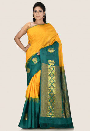 Kanchipuram Pure Silk Saree in Yellow and Teal Blue