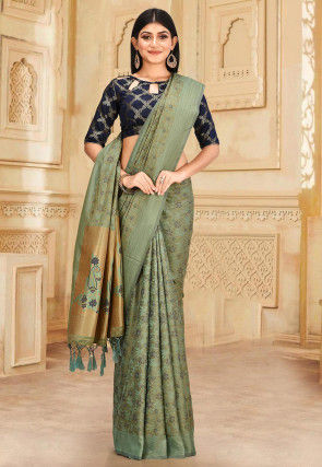 Kanchipuram Saree in Beige and Green