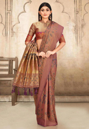 Kanchipuram Saree in Beige and Peach