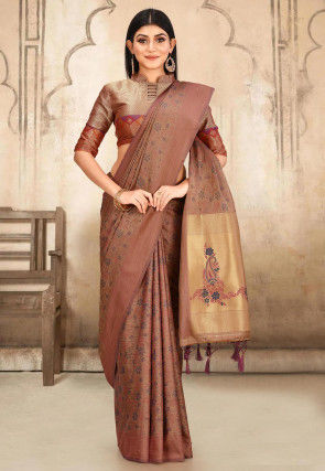 Kanchipuram Saree in Beige and Pink