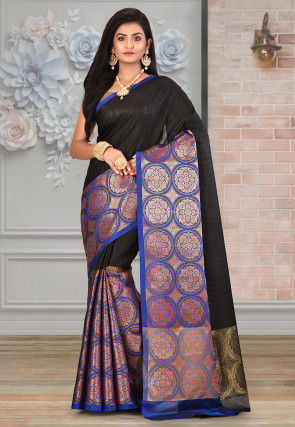 Kanchipuram Saree in Black and Royal Blue