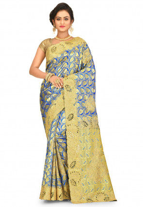 Kanchipuram Hand Embroidered Saree in Blue and Golden