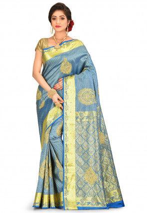 Kanchipuram Hand Embroidered Saree in Blue