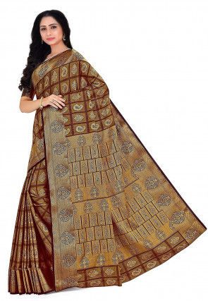 Kanchipuram Saree in Brown