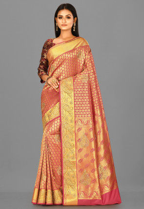 Kanchipuram Saree in Coral Pink