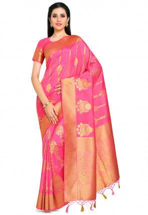 Kanchipuram Saree in Coral Pink