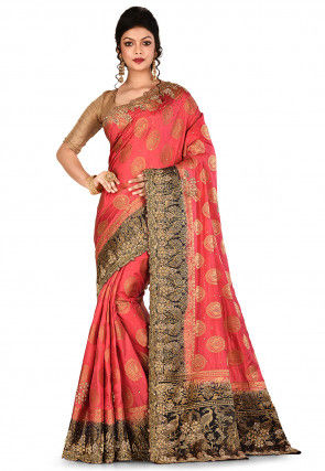 Kanchipuram Saree in Coral Red