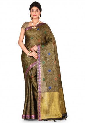 Kanchipuram Saree in Dark Beige