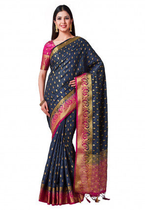 Kanchipuram Saree in Dark Blue