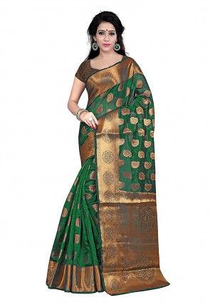 Kanchipuram Saree in Dark Green