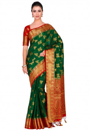 Kanchipuram Saree in Dark Green