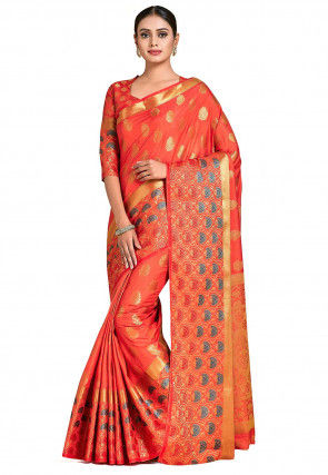 Kanchipuram Saree in Dark Peach