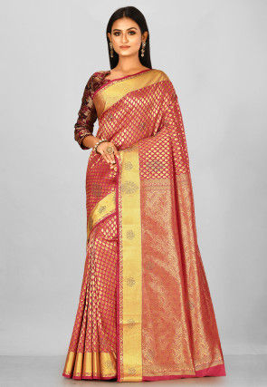 Kanchipuram Saree in Dusty Red