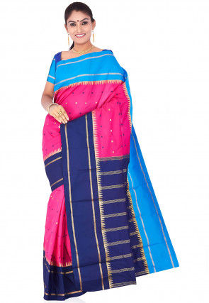 Kanchipuram Saree in Fuchsia and Blue