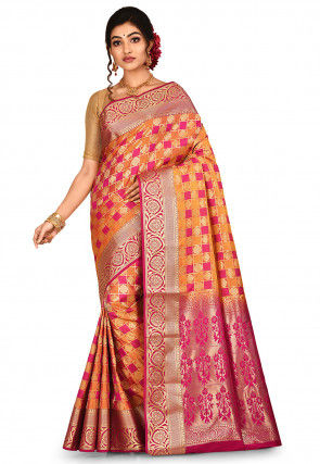 Kanchipuram Saree in Fuchsia and Orange