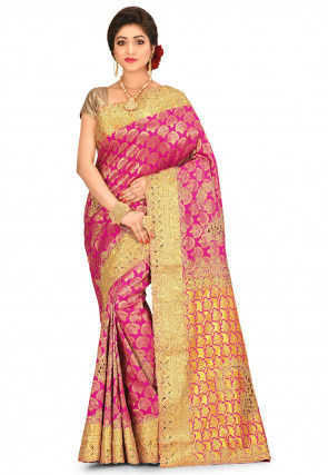 Kanchipuram Hand Embroidered Saree in Fuchsia