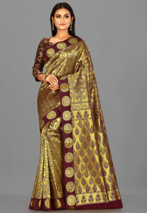 Kanchipuram Saree in Golden and Maroon