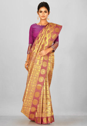 Kanchipuram Saree in Golden and Old Rose