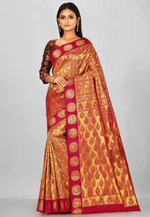 Kanchipuram Saree in Golden and Red