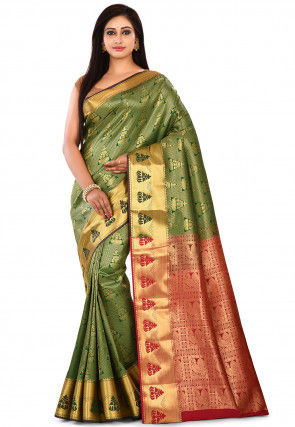 Kanchipuram Saree in Green and Golden
