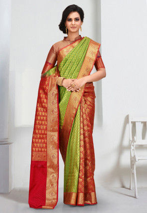 Kanchipuram Saree in Green and Red