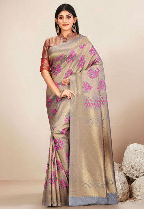 Kanchipuram Saree in Grey and Golden