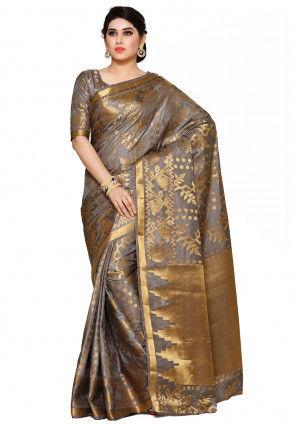 d4a8a4a7ef118 Kanchipuram Saree in Grey and Golden