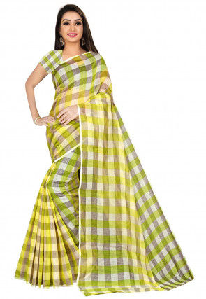 Kanchipuram Saree in Light Green and Off White