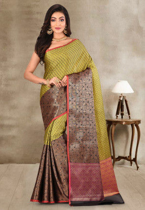 Kanchipuram Saree in Light Olive Green and Black