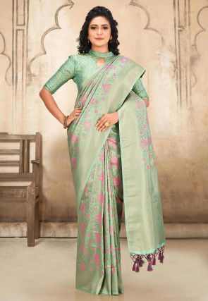 Kanchipuram Saree in Light Teal Green