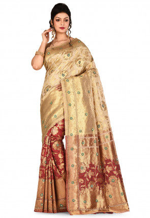 Kanchipuram Saree in Maroon and Beige