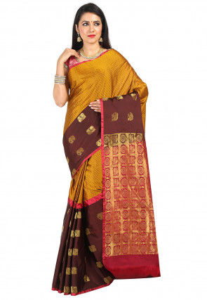 Kanchipuram Saree in Mustard and Dark Brown