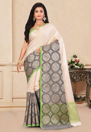 Kanchipuram Saree in Off White and Charcoal Grey