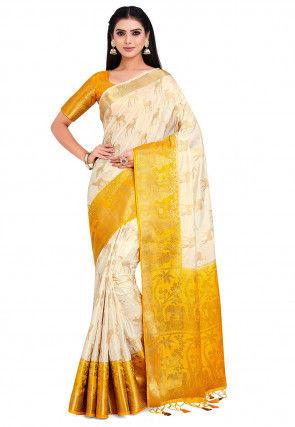 Kanchipuram Saree in Off White and Mustard