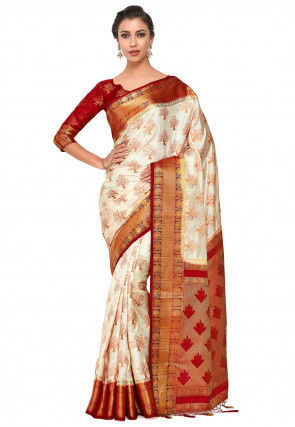 Kanchipuram Saree in Off White