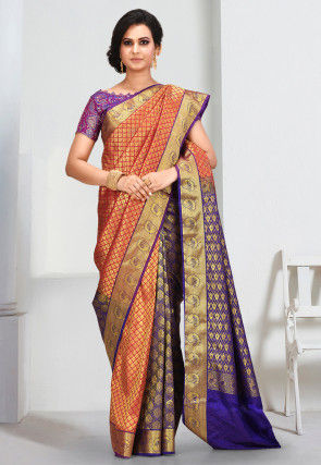 Kanchipuram Saree in Orange and Blue