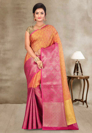 Kanchipuram Saree in Orange and Fuchsia