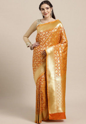Kanchipuram Saree in Orange and Golden