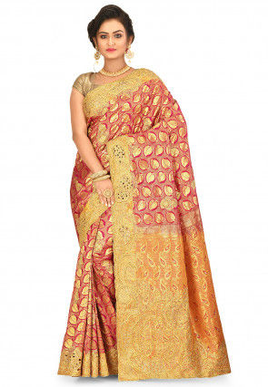 Kanchipuram Hand Embroidered Saree in Pink and Golden