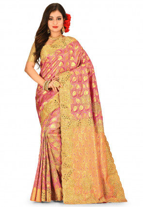 Kanchipuram Hand Embroidered Saree in Pink