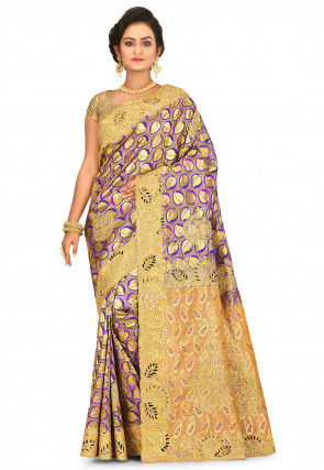 Kanchipuram Hand Embroidered Saree in Purple and Golden