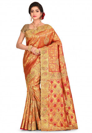 Kanchipuram Hand Embroidered Saree in Red and Golden